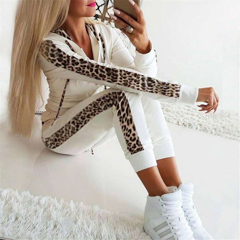 Retro Fashion Casual 2Pcs Women Leopard  Tracksuit Sweatshirt Sweat Suit Jogging Hot Long Seleeve Hoodies Sports Tops Pants