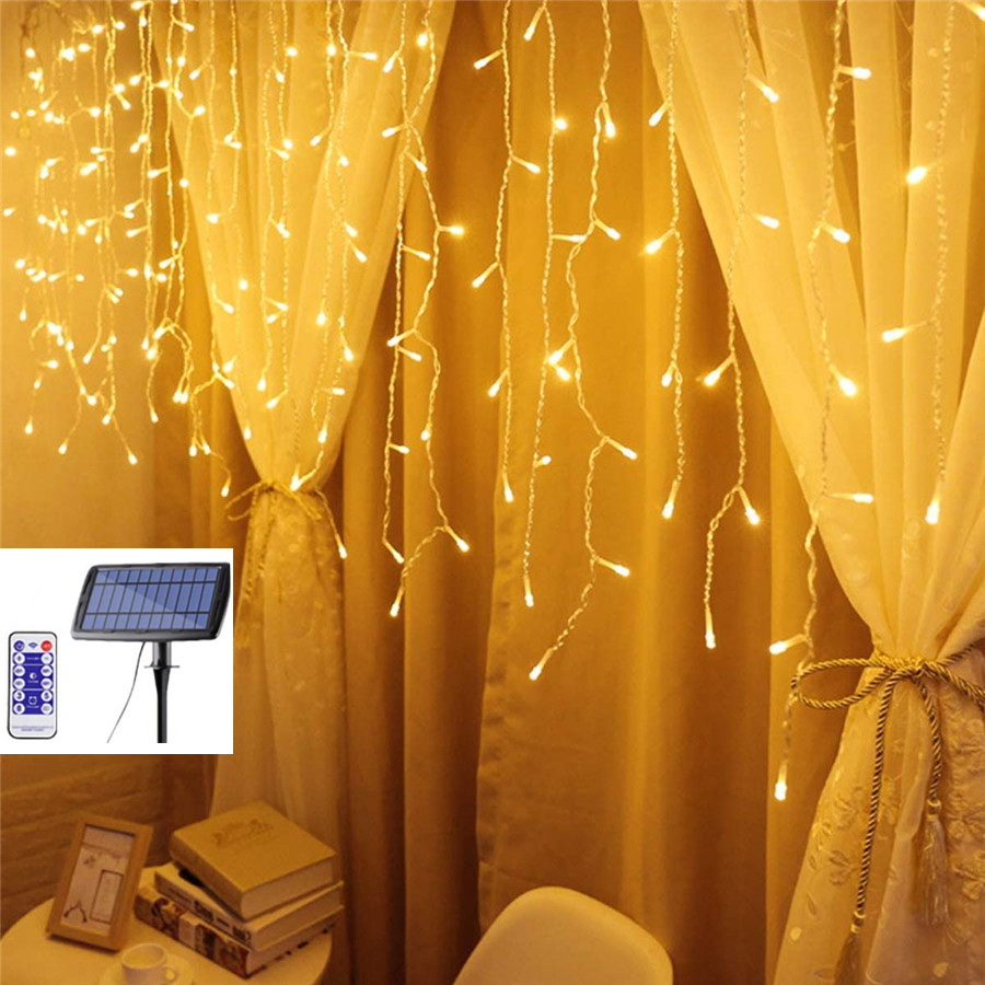 5 Meter 256 Leds Solar Powered Led Icicle Curtain String Light Waterproof Warmth Atomosphere Lamp Holiday Christmas Party