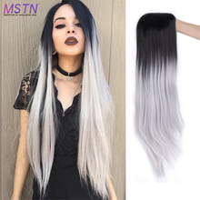 MSTN 26 Inch Long Staight Hair High Density Synthetic Wig Ombre Blue/Pink/Brown/Red Natural Hair For Women Party Cosplay Wig