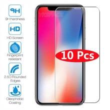 Protector de pantalla para iPhone, película protectora transparente de vidrio templado para iPhone 12 mini 11 Pro X Xs XR Max 6 6S 7 8 Plus 5 5S SE 9H, 10 Uds.