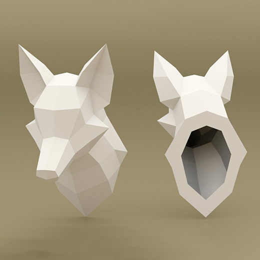 Fox Head 3D Paper Model Geometry Hand-made DIY Paper Cutting Domestic Ornaments Creative Toy