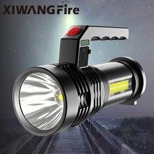 Luz forte portátil handheld usb recarregável super brilhante cob luz lateral holofote ao ar livre searchlight doméstico