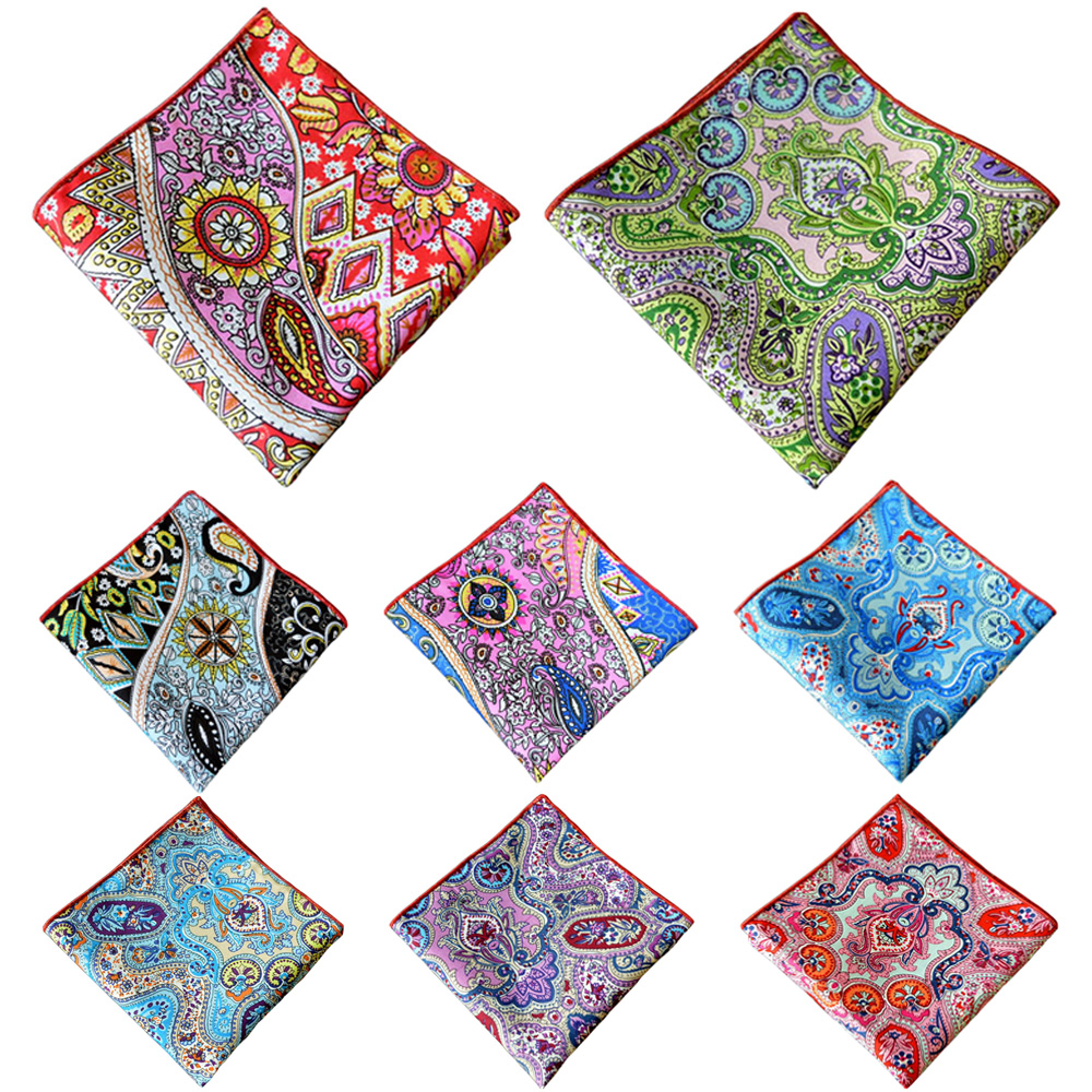 Men's Colorful Paisley Floral Handkerchief Men Accessories Pocket Square Hanky BWTYX0317