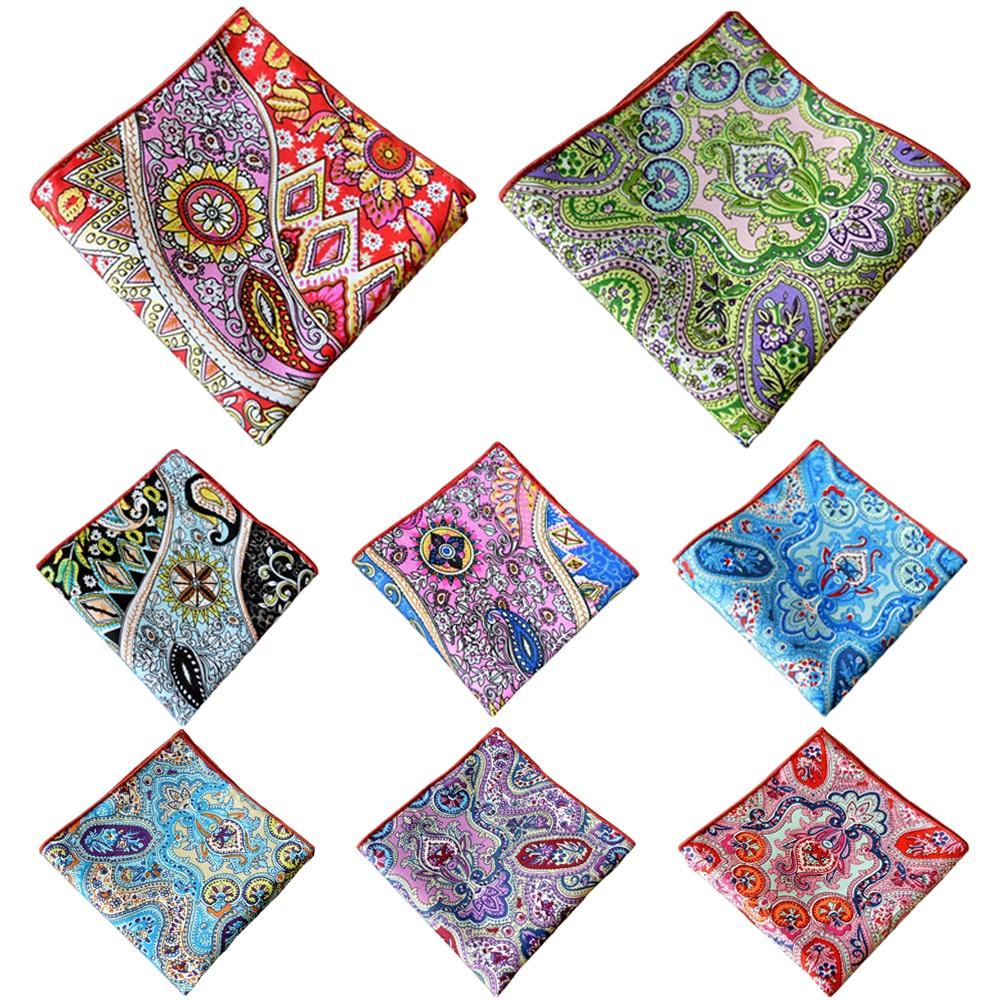 Men's Colorful Paisley Floral Handkerchief Men Accessories Pocket Square Hanky BWTYX0317