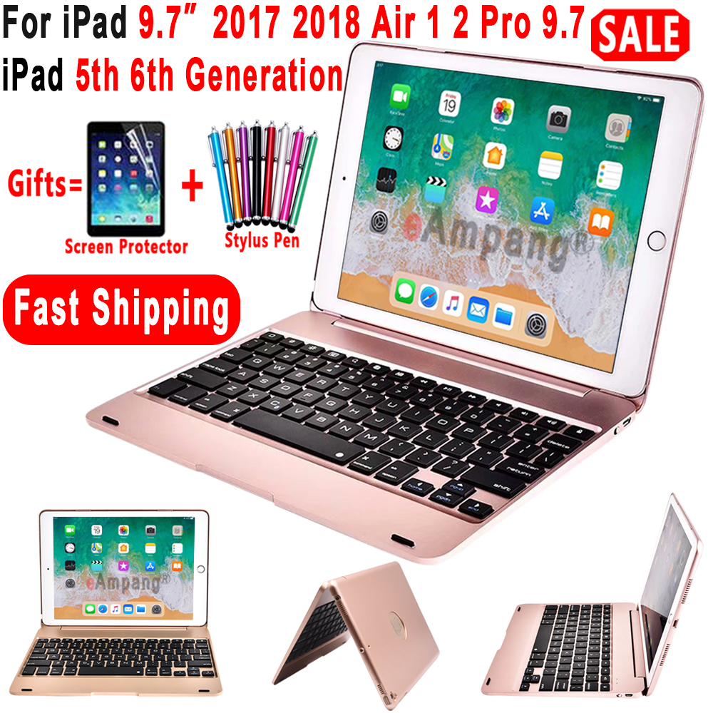 Top Flip Keyboard for Apple iPad 9.7 2017 2018 5th 6th Generation Bluetooth Keyboard Case for iPad Air 1 2 5 6 Pro 9.7 Cover-in Tablets & e-Books Case from Computer & Office