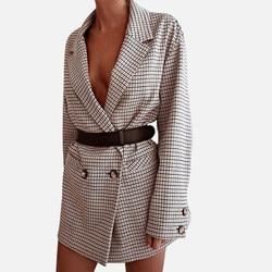 Элегантный клетчатый Блейзер, мини-платье для женщин, длинный рукав, негабаритный жакет для офиса, Женский облегающий жакет, Осень-зима 2019, П...