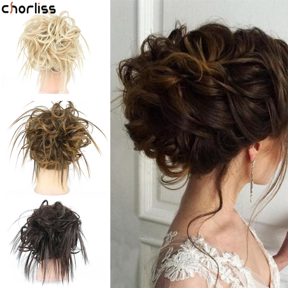 Chorliss Synthetic Messy Bun Tousled Hairpiece Elastic Band Chignon Hair Curly Scrunchie Cover Synthetic Hairpiece For Women