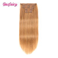 Gazfairy Remy Straight Hair Clip In Human Hair Extensions Double Weft Natural Color 18 Inches 100g 7Pcs/Set Full Head For Women