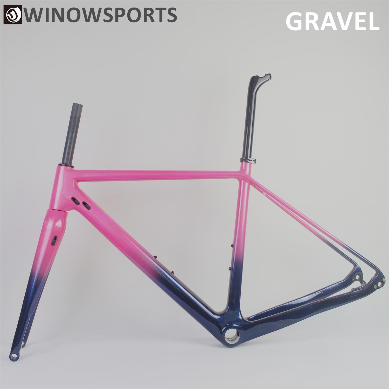 Chameleon Customs Painting Carbon Fiber Gravel Bike Frame New Flat Mount Disc Brakes Carbon Cyclocross Disc Brake 700*38c Tyres
