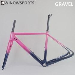 Chameleon customs painting rama rowerowa z żwiru z włókna węglowego nowe płaskie hamulce tarczowe z hamulcem tarczowym cyclocross 700 * 38c opony