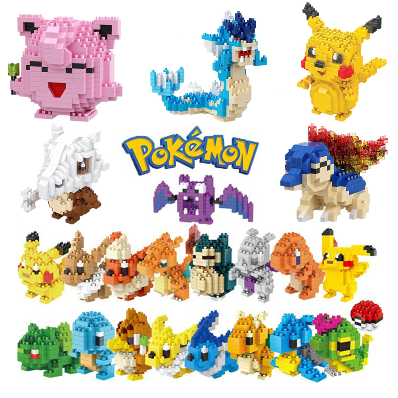 34 new styles Small Building Pokemon Blocks Small Cartoon Picachu Animal Model Education Game Graphics Legoed Pokemon Toys 1