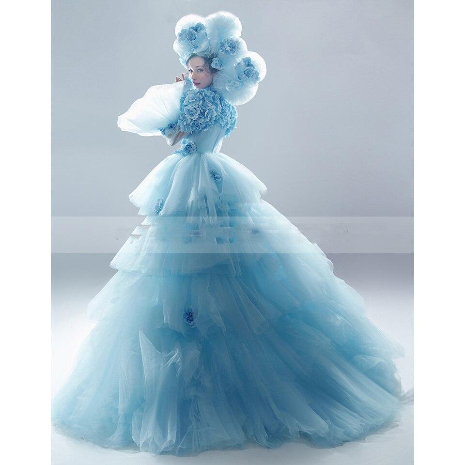 Bleu robe de soirée modeste col haut robe de soirée Tulle Floral robes de bal robe formelle manches bouffantes une ligne longueur de plancher abiye