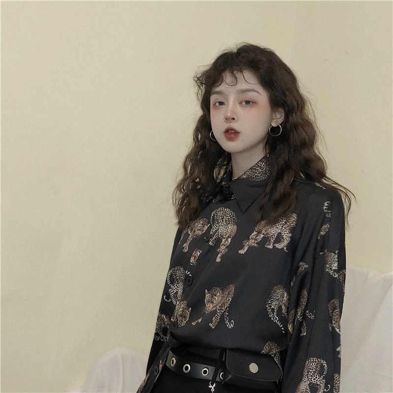 Woherb VINTAGE Leopard เสื้อผู้หญิง Harajuku สัตว์พิมพ์เสื้อ 2020 ผู้หญิงฤดูร้อนหลวม Blusa Streetwear Camisas Mujer 21976