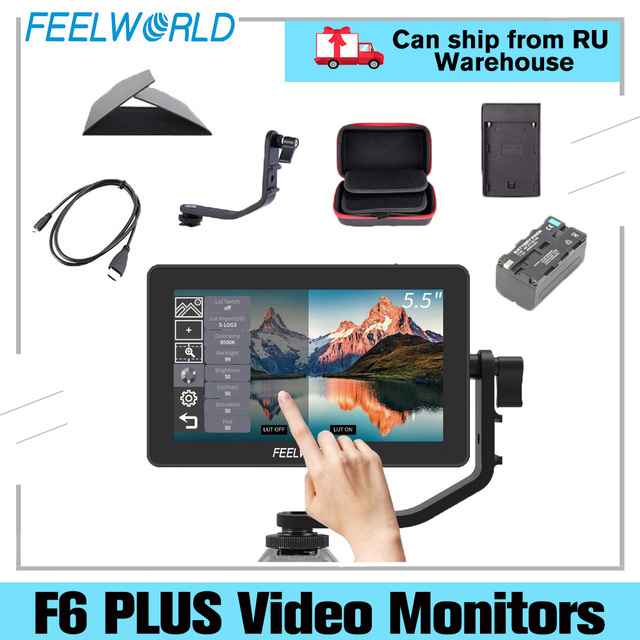 FEELWORLD S55 5.5 אינץ IPS על מצלמה שדה פוקוס לסייע 1280x720 תמיכת 4K HDMI קלט DC פלט כולל הטיה זרוע