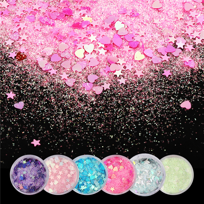 Fantasy Glitter Sequins Candy Color Nail Paillettes Love Star Mixed Magic Powder Sequin Small Paillette For Crafts Decor 1jar