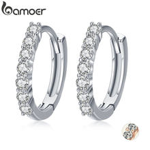 BAMOER 100% 925 Sterling Silver Dazzling CZ Crystal Circle Round Hoop Earrings for Women Sterling Silver Jewelry SCE351-1H(China)