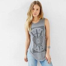 New summer sword tarot circle print sleeveless shirt sweep female T-shirt fashion Tops