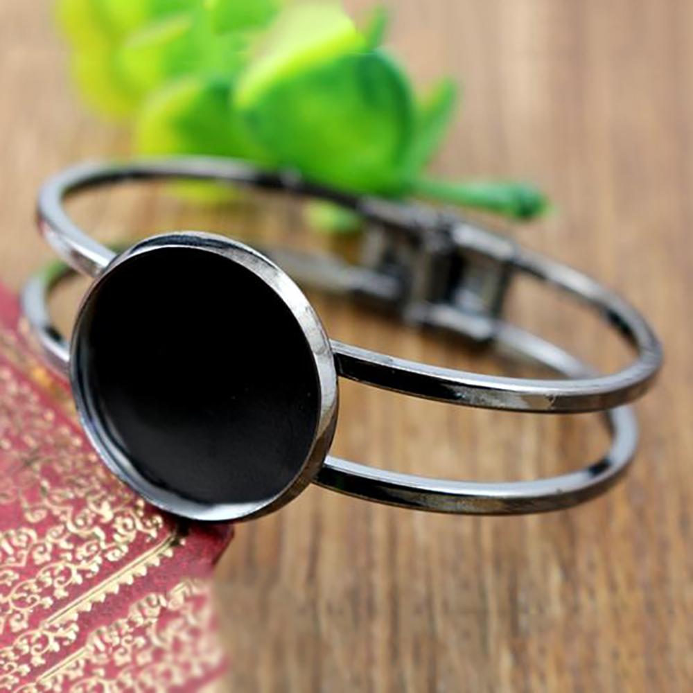 High Quality  25mm Gun Black Plated Bangle Base Bracelet Blank Findings Tray Bezel Setting Cabochon Cameo (L1-09)