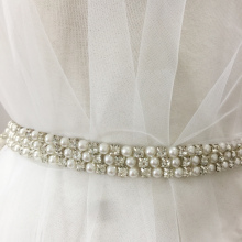 1 Yard 2cm Wide Pearl Rhinestone Beaded Lace Trim, Bridal Sash Wedding Belt Headpiece DIY Accessories