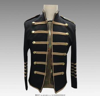 Cassical Military Style Men's Black Slim Fit Blaser Jacket Men Vintage Casual Suits New Male Chorus Stage Performence Costumes