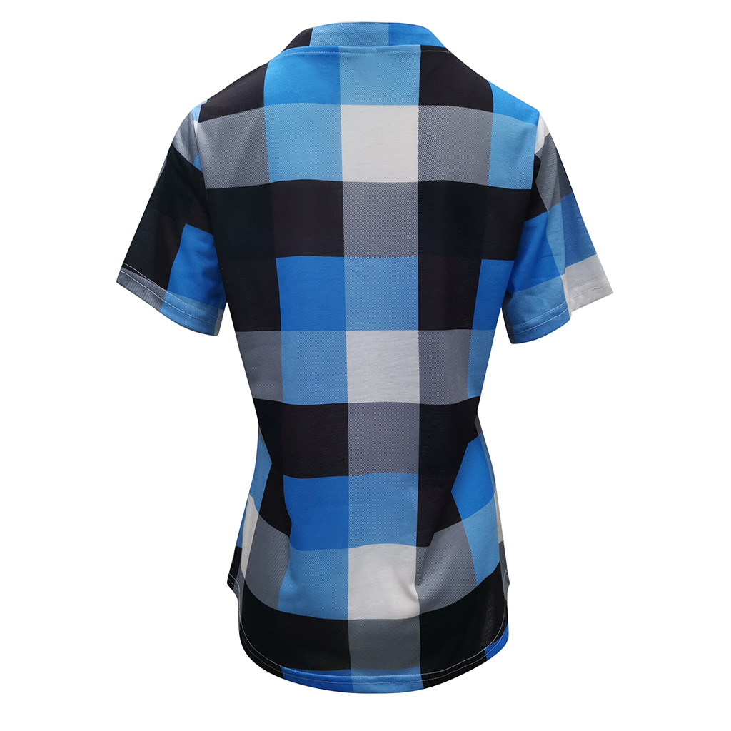 Fashion Plaid T Shirt Plus Size Cotton tshirt Casual Summer Ladies Sexy V-Neck Tunic Tops Female Women Short Sleeve Shirt Blusas