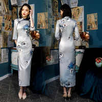 New Arrival Traditional Women Plus Size 4XL Qipao Lady Rayon Sexy Long Printing Cheongsam Handmade Button Vintage Chinese Dress