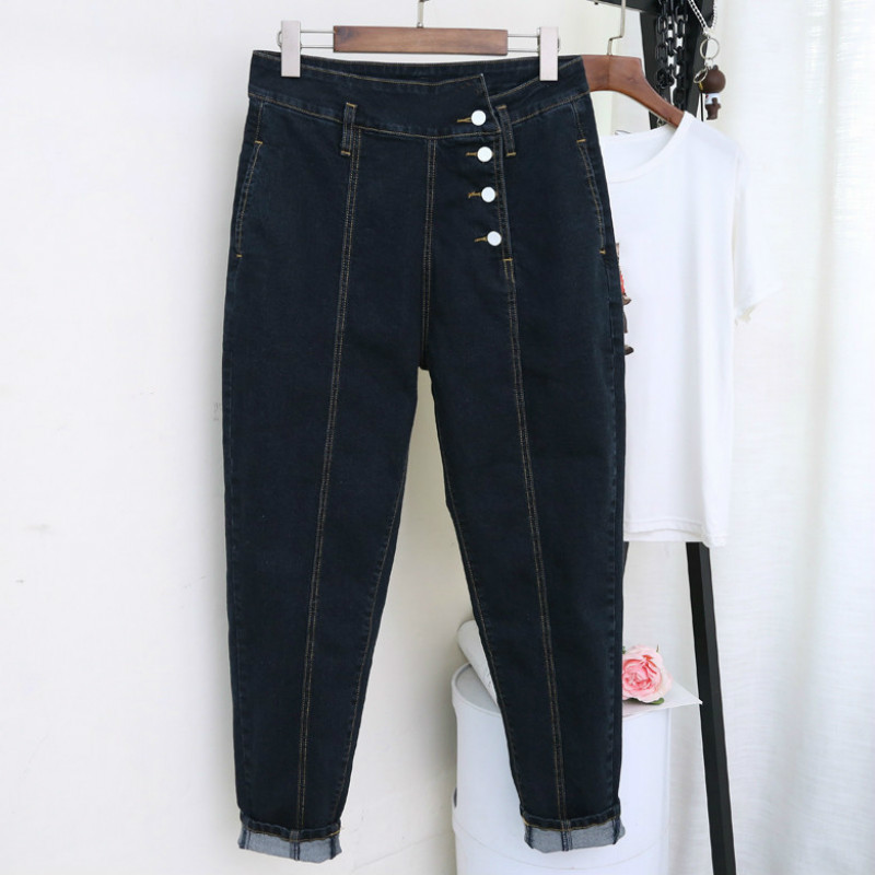 New Spring Autumn Casual Black Blue Ripped Jeans For Women Button Harem Denim Pants Trousers Loose Mon Jeans Vaqueros De Mujer