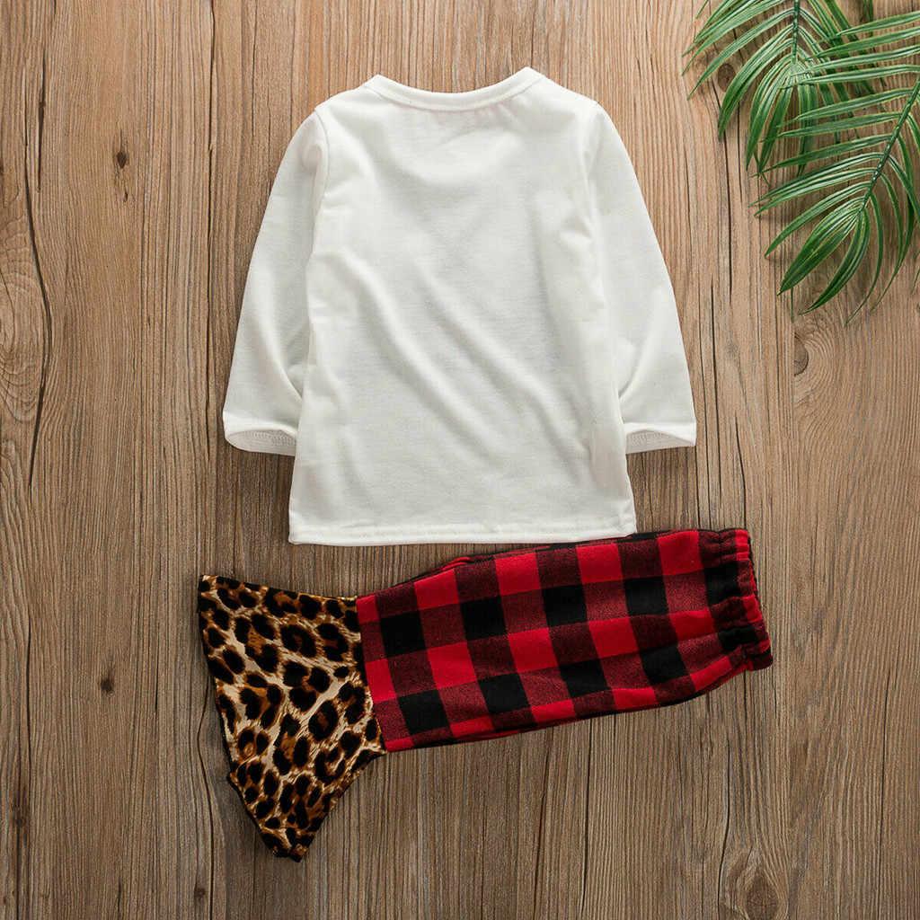 Ubrania dla niemowląt noworodka ubrania ropa niña одежда для новорожденных świąteczny nadruk drzewa topy spodnie w kratę spodnie zestaw #4