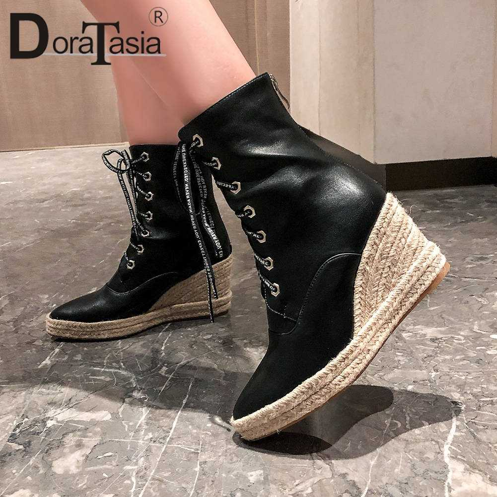 DORATASIA PLUS ขนาด 44 สุภาพสตรี Cool Pointed Toe รองเท้าสูง Wedges รองเท้าผู้หญิง LACE-up ข้อเท้ารองเท้าแพลตฟอร์มผู้หญิง