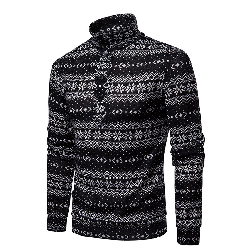 Male Fashion Casual Sweaters Pullover Smart Autumn Slim Windproof O-Neck Bottoming Shirts Homme Men Printed Sweater MOOWNUC 2019