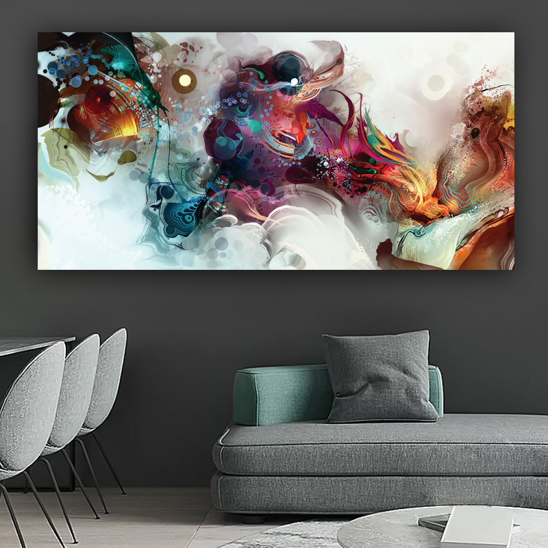 WANGART Colorful Ocean Large Abstract Poster  Canvas Paintings Print  Poster Oil Painting For Living Room modern home