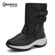 WWKK/уличные Нескользящие теплые непромокаемые зимние сапоги женские высокие сапоги из искусственной кожи на толстой подошве с плюшевой подкладкой лыжные спортивные ботинки г. Зимняя обувь