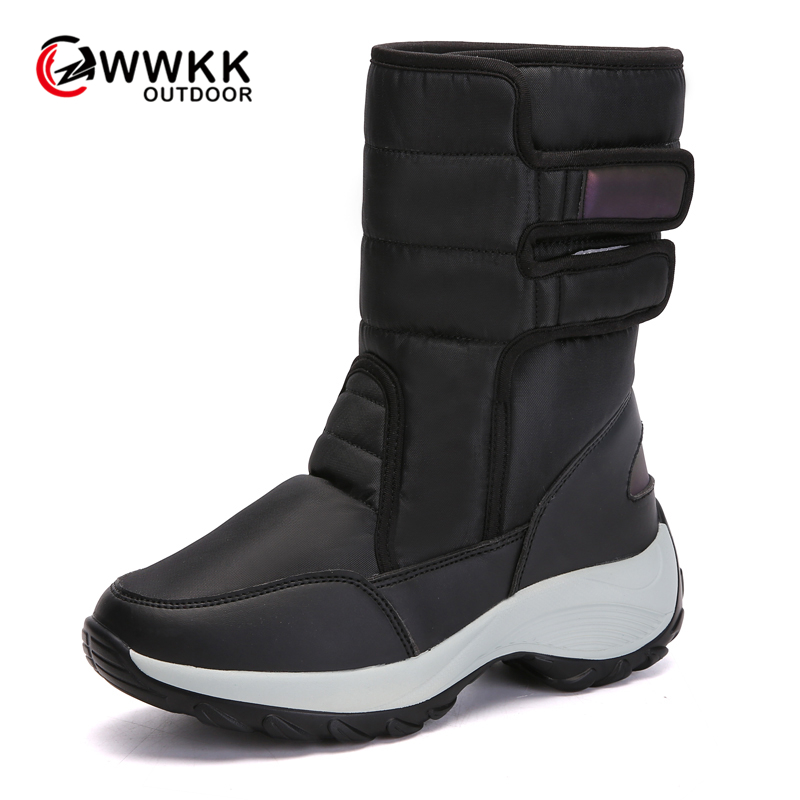 WWKK Outdoor Non-slip Warm Waterproof Snow Boots Women PU Upper Thicken Sole Plush High Boot Hike Ski Sports 2019 Winter Shoes