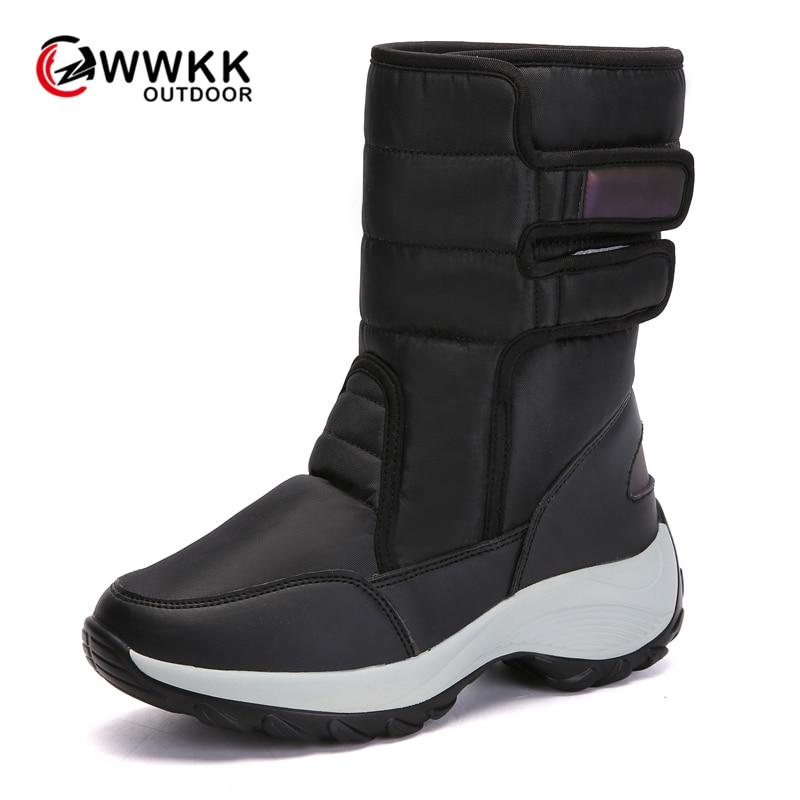 WWKK Outdoor Non-slip Warm Waterproof Snow Boots Women PU Upper Thicken Sole Plush High Boot Hike Ski Sports 2019 Winter Shoes