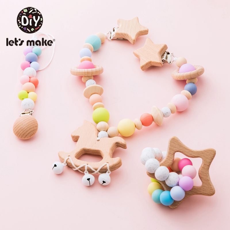 Let'S Make 1pc Baby Toys Wooden Stroller Game Infant Baby Play Musical Rattle Personalized Pacifier Chain For 0-12 Months Kids