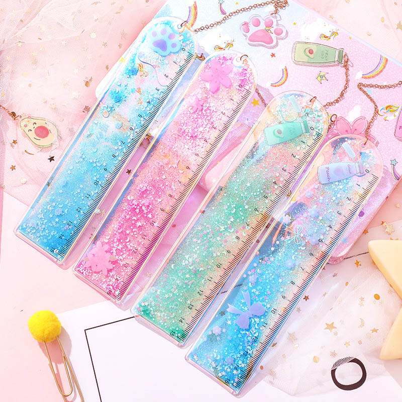 Kawaii Quicksand Sequin Glitter Ruler Cute Avocado Straight Ruler With A Pendant Bookmark For Kids School Measuring Stationery
