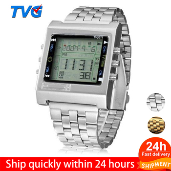 TVG Sport Men watch New Rectangle Remote Control Digital Alarm TV DVD remote Ladies Stainless Steel Wristwatch Fashion casual tvg new rectangle remote control digital sport watch alarm tv dvd remote men ladies stainless steel wristwatch fashion casual