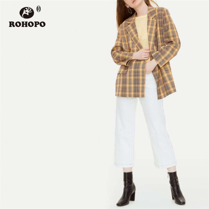 ROHOPO Double Breast Buttons Thin Striped Gradient Fly Plaid Khaki Blazer British Academy Notched Collar Straight Outwear #9282