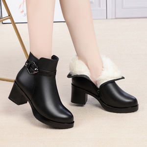 Image 4 - GKTINOO Winter Shoes Womens Genuine Leather Ankle Boots Wool Warm Woman Snow Boots Big Size High Heels Ladies Shoes