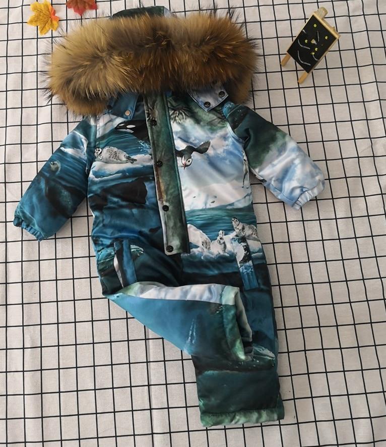 Bébé mère hiver femmes bas combinaison fille bas barboteuses fourrure naturelle femme bas vestes fille bas Catsuit vêtements de neige - 3