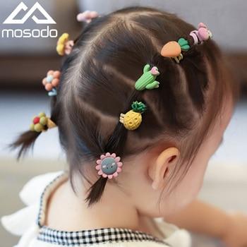Mosodo Rubber Band Cute Headdress Little Woman Cartoon Rubber Band Child Headband Flower Hairband Kids Hair Equipment