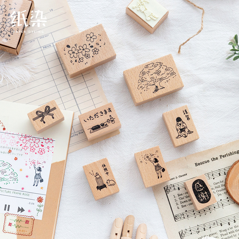 One Year Spring Series Decoration Cherry Blossoms Stamp Wooden Rubber Stamps For Scrapbooking Stationery DIY Craft Standard Seal