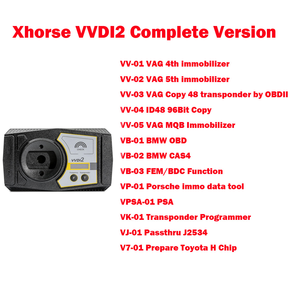 Programmeur principal de Xhorse VVDI2 de Version complète pour V-W/Audi/BMW/Porsche V6.0.0 et pour BMW FEM BDC ID48 96bit ID48 OBDII autorité de MQB