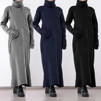 Feminino gola alta vestido vintage 2019 celmia outono inverno sólido casual solto bolsos longos maxi vestidos robe plus size vestidos