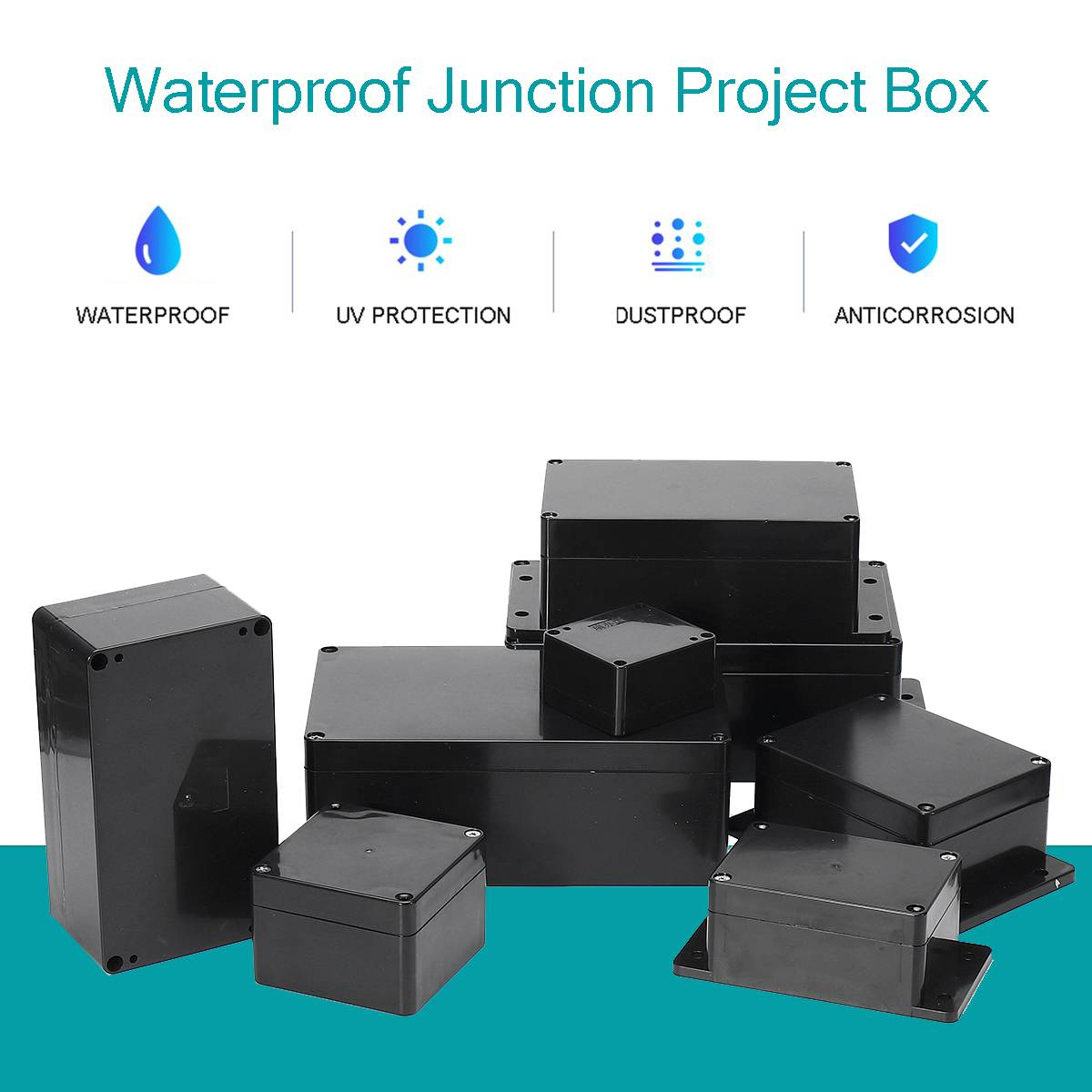 Black Color <font><b>Waterproof</b></font> <font><b>Plastic</b></font> Enclosure <font><b>Box</b></font> Electronic Housing Instrument Case <font><b>Electrical</b></font> Project Outdoor Junction <font><b>Box</b></font> image