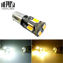 цена на T11 Ba9s T4W 5630 10smd LED Interior Reading License Plate Bulb Tail Lamps Gauge White Yellow Amber light DC 12V Car Marker Led