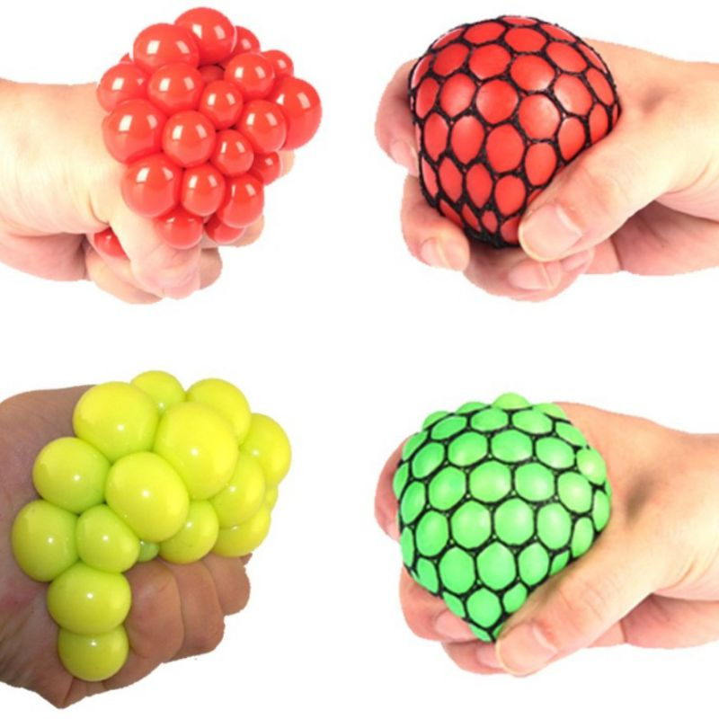 4pcs/set Squeeze Toy Grape Mesh Ball Rubber Reliever Stress Relief Decompression Toys