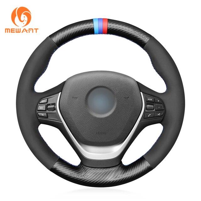 MEWANT Schwarz PU Carbon Fiber Hand Nähen Auto Lenkrad Abdeckung für BMW F20 F21 F22 F23 F30 F31 F34 f32 F33 F36 M Sport 2011 2020
