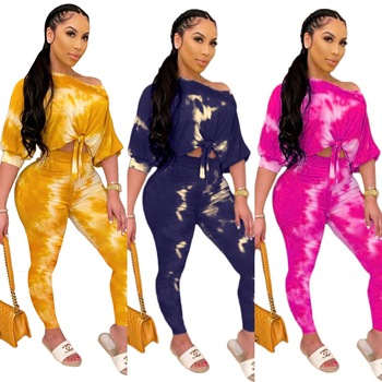 Fall New Sexy Tie Dye Print Women's Two Piece Set Sweatpants And Bandage Crop Tops Casual Suits Matching Sets Tracksuit cryptographic tie dye print fashion long sleeve sexy two piece bikini set matching sets crop tops summer beach swinwear outfits