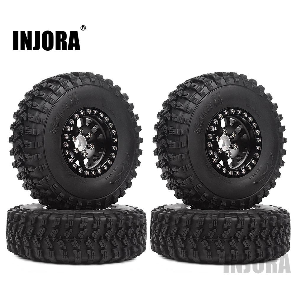 INJORA 4Pcs 1.9 Beadlock Wheel Tire Rim Set For 1/10 RC Crawler Traxxas TRX-4 Axial SCX10 90046 D90 MST